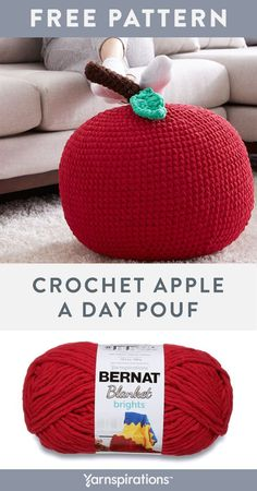 Free Easy crochet Apple A Day Pouf pattern using Bernat Blanket Brights yarn. This adorable apple crochet pattern is super easy to follow – perfect for a no-hassle kids bedroom accessory! #yarnspirations #bernetyarn #bernetbaby #bernatblankebrightsyarn #freecrochetpattern #crochetseat #crochetpouf #crochetdecor #homedecorcrochet #easycrochetpattern #kidsbedroomdecor Crochet Pouf, Knit Or Crochet, Free Crochet, Crochet Hats, Easy Crochet Patterns, Afghan Patterns, Kids Bedroom Accessories, Crochet Apple, T Baby