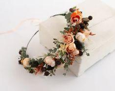 Wedding Flower Crowns and Bridal Headpieces by LisaUaShop on Etsy Flower Girl Crown, Flower Crown Wedding, Bridal Flowers, Floral Crown, Flower Crowns, Boutonnière Rose, Marine Rose, Mustard Flowers, Burgundy Flowers