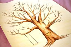 Wedding Guest Book Tree. Original thumb print Water by spottednest, $60.00