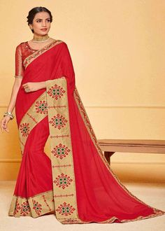 Red Color Lace Border Jute Silk Party Wear Saree Present Red color gorgeous Embroidered Jute Silk Designer Saree. Latest Saree Trends, Latest Sarees, Jute Silk Saree, Art Silk Sarees, Saree Sale, Celebrity Gowns, Red Saree, Traditional Sarees, Party Wear Sarees