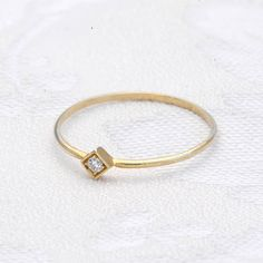 Minimalist thin gold ring with a diamond ,gold band, wedding ring with a diamond, 14 karat gold ring, engagement ring