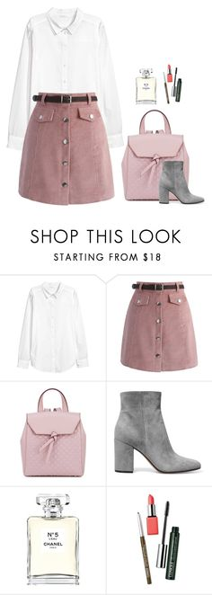 """Pink suede"" by eellcat ❤ liked on Polyvore featuring Chicwish, Alexandra de Curtis, Gianvito Rossi, Chanel and Clinique"