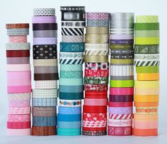 Up to 20 rolls on Wooden Spools of Japanese Washi Tape Choose Your Colors -NEW PATTERNS check photo 2 and 3 for full list. $17.76, via Etsy.