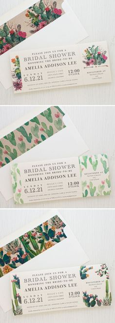 Desert Chic Bride-to-Be check out these darling bridal shower cards. Complete with cute cactus print envelope liners. Handcrafted by Beacon Lane!