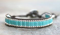 Sterling Silver and Turquoise Blue Square Beaded Single by MindyG