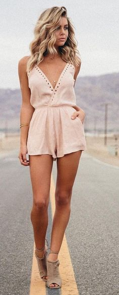 #spring #fashion #outfitideas | Blush V-neck Romper