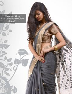 Simple yet elegant, look graceful in this Kareena Charcoal Grey Silk Cotton Saree from Chanderi. You can buy it http://www.shatika.co.in/charcoal-grey-kareena-pallu-silk-cotton-saree-from-chanderi.html