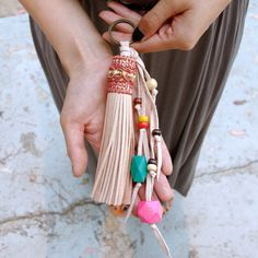 Hand Made Leather Tassel Key Chain by Gucha on Etsy
