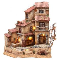 Casa grande en resina para belén con fuente 39x36x20 cm | venta online en HOLYART