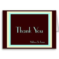 Wedding Thank You Notes, Chocolate, Cream & Mint, Personalized with Couple's Names