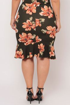 Plus Size Floral Fish Tail Ruffle Skirt - Olive Printed Plus Size Womens Clothing, Clothes For Women, Fish Tail, Classy Girl, Ruffle Skirt, Trendy Plus Size, Latest Trends, Curvy, Printed