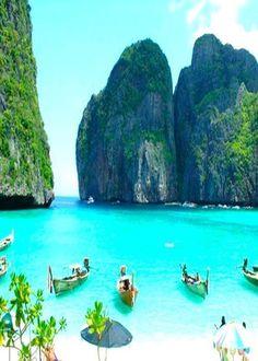 Phi Phi (Phuket) Thailand Breathtakingly stunning. Sadly too many tourists!!! www.HotelDealChec...