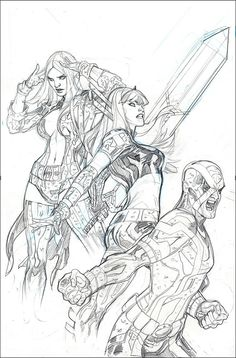 Terry and Rachel Dodson's Uncanny X-Men # 21 variant cover art process. I found most of these images on their website, which is http:/...