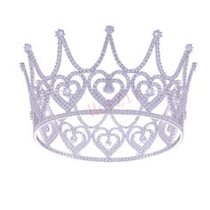 HerZii 3.3 Inch Height Luxury Big Sweet Heart Clear AAA Cubic Zirconia Crown Platinum Plated Princess Heart Wedding Tiaras For Hair Accessories ** Check out the image by visiting the link. #HairJewellery