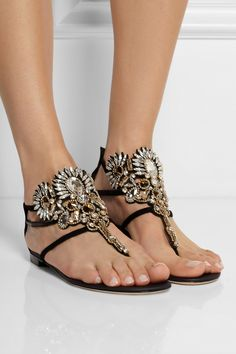 René Caovilla - Mumbai Swarovski crystal-embellished suede sandals from NET-A-PORTER