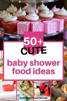 Create the perfect baby shower menu with these 50  baby shower food ideas! Everything from amazing baby shower finger foods, to everything you need for an amazing baby shower dessert table! Create the cutest baby shower treats to go with a delicious baby shower brunch, lunch, or appetizers menu. Check them all out here! #babyshowerfood #babyshowerfoodideas #babyshowerdesserts #babyshower Baby Shower Menu, Baby Shower Treats, Baby Shower Brunch, Simple Baby Shower, Diaper Shower, Baby Showers, Baby Shower Appetizers, Baby Shower Finger Foods, Baby Shower Desserts