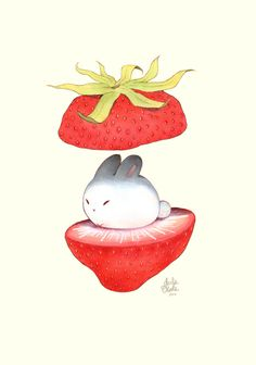 Little buns can be found if you open a strawberry during the right time of the season.  ©2015 Two Black Cats Studio/ Darla Okada