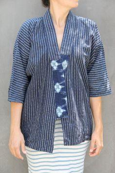 Items similar to vintage indigo kimono wrap top jacket on Etsy Batik Kebaya, Kebaya Dress, Batik Dress, Batik Fashion, Abaya Fashion, Batik Blazer, Simple Kurta Designs, Model Kebaya, Blouse Models