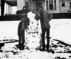 James Dean & cousin Marcus Winslow on the Winslow farm. --yes i wanna build a snowman.