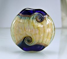 Dark Blue Mother of Pearl Yellow Lampwork Focal by skyvalleybeads, $23.00