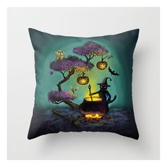 Halloween Throw Pillow ($20) ❤ liked on Polyvore featuring home, home decor, throw pillows, halloween throw pillows, halloween home decor and animal throw pillows