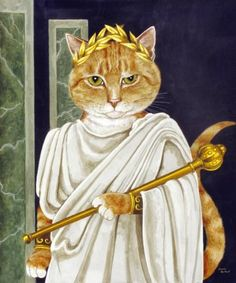 Julius Caesar by Susan Herbert from Shakespeare Cats - - Chat Web, Image Chat, Great Works Of Art, Gatos Cats, Cat Pillow, Throw Pillow, Cat Life, Pet Portraits, Cat Art