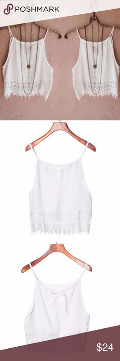 White Lace Hem Crop Top Camisole Perfect feminine basic top is versatile and pretty for many occasions. NEW. Tops Camisoles