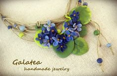 Polymer clay necklace Wild Violets, jewelry with flowers blue violets