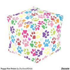 Puppy Paw Prints Pouf