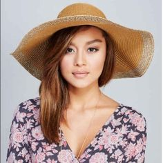 """NWT two toned brown sun hat 23.5"""" circumference 5"""" brim, paper Accessories Hats"""