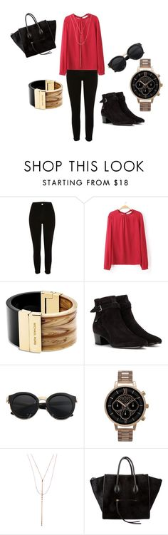 """red blouse"" by olia7805 on Polyvore featuring River Island, Michael Kors, Yves Saint Laurent, Olivia Burton, Lana and CÉLINE"