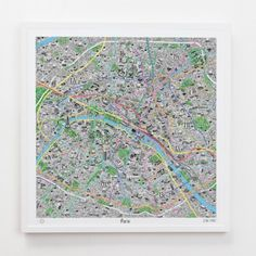 Hand Drawn Map of Paris  Jenni Sparks has cooperated with Evermade to create these culture maps. The hand drawn maps meticulously highlights the districts and neighbourhoods complete with the quirky in-the-know signature marks and landmarks that make the cities so unique.  Giclée print on matt paper. 24 inches x 24 inches. Rolled and wrapped in acid-free tissue.