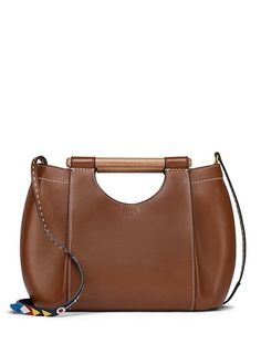 Tory Burch Dowel Leather Round Tote