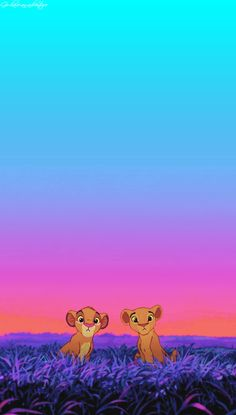 Simba and Nala as cubs. I think I want this to be the nursery theme :)