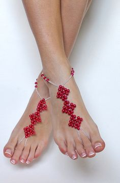3 square red beaded barefoot sandals pearls and by BareSandals, $32.00
