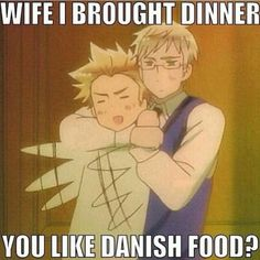 Sweden and Denmark. Brought the danish food XD Hetalia Funny