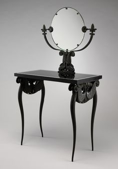 Armand-Albert Rateau  (French, 1882–1938) Dressing table, ca. 1925 Bronze, basalt, mirror glass H. 55 1/2 in. (141 cm), W. 31 1/2 in. (80 cm), D. 15 5/8 in. (39.7 cm)
