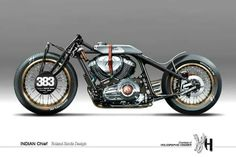 """holographic hammer Best guess for this image: """"Roland Sands Indian Chief"""" by Holographic Hammer. Triumph Motorcycles, Harley Davidson Motorcycles, Custom Motorcycles, Custom Bikes, American Motorcycles, Bobber Motorcycle, Bobber Chopper, Moto Bike, Motorcycle Design"""