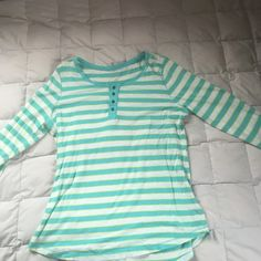 Aqua striped 3/4 sleeve shirt Very cute and very springy aqua striped 3/4 length sleeves- worn twice, in perfect condition! Kim Rogers Tops