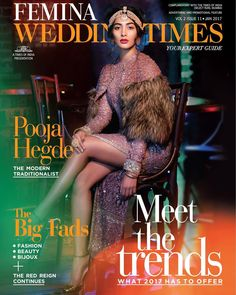 Pooja Hegde graces latest cover of Femina Wedding Times Magazine January 2017 Issue,look extremly beautiful on cover picture of magazine. Bollywood Cinema, Bollywood Girls, Bollywood Actress, Bollywood Updates, Mohenjo Daro Film, Vogue India, Black Families, Time Magazine, Magazine Covers