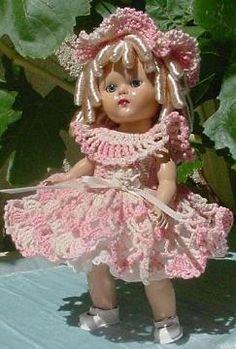 A vintage vogue Ginny doll wearing a little crocheted dress I made and sold on eBay several years ago.