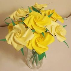 Handmade+Origami+Rose+Paper+Folded+Flower+Craft+Gift+Yellow+Short+Stems