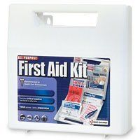First Aid Only, All Purpose First Aid Kit (181 Piece) by First Aid Only. $17.99. AMA First Aid Guide, scissors, thermometer, vinyl gloves, wide array of bandages, trauma pad, two sizes of conform gauze, two types of compresses, antiseptics, ointments including insect sting and burn relief. all three common OTC pain medications.. Extra large case with dividers to keep supplies organized. Sturdy, wall-mountable First Aid Kit. Recommended by a Board of Health Care Profe...