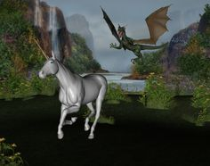 Dragon going after a unicorn by a falls