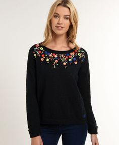 Superdry Folk Icarus Jumper for Womens Embroidery On Kurtis, Hand Embroidery Dress, Kurti Embroidery Design, Wool Embroidery, Simple Embroidery, Embroidered Clothes, Embroidery Fashion, Hand Embroidery Designs, Fairy Clothes