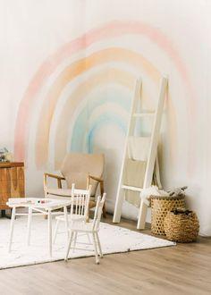 Rainbow Room Kids, Rainbow Bedroom, Rainbow Nursery, Playroom Furniture, Rainbow Wallpaper, Little Girl Rooms, Little Girls Playroom, Small Playroom, Kids Room Design