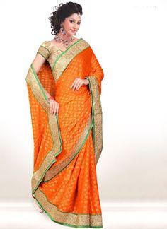 Awesome Opulent #Orange Full #Viscose Saree. Price On Demand !