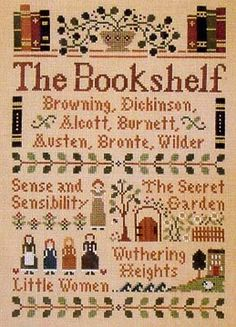 """From Little House Needleworks is this delightful cross stitch pattern titled """"Bookshelf"""" for those of us who love the classics. The cross s..."""