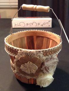 DIY Flowergirl burlap basket, country wedding