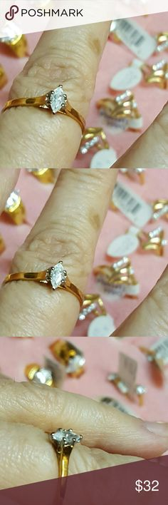Promise Ring 1/2 ct Zirconia  size 7 14k hge 1980s genuine vintage from old stock unused original tag wit genuine 1/2ct zirconia sparkle dazzle nobody will know  is gold plated high quality.  size 7  ask for other size I have size 6 ,  7 ,  8,  9  sizes and quantity limited. unknown Jewelry Rings